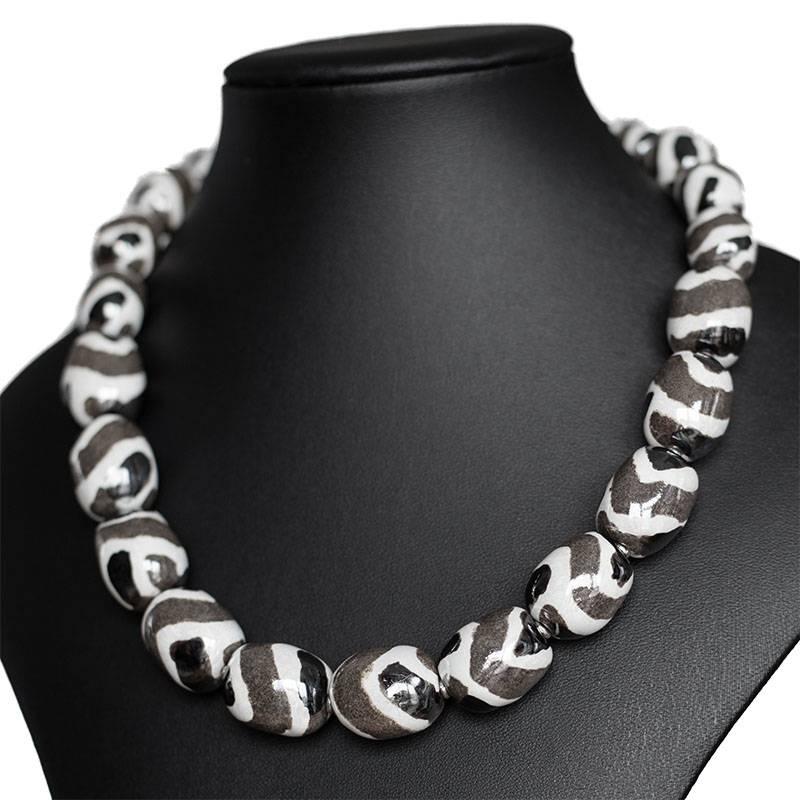 Kazuri Halsketten Kazuri Halskette Granit Weiss