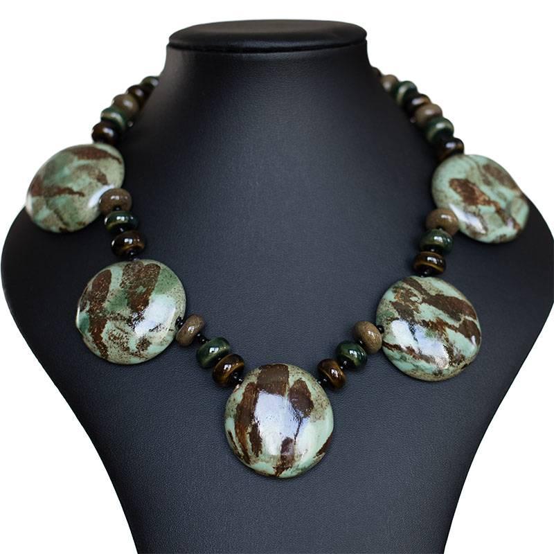 Kazuri Halsketten Statement Keramik Halskette Grün-Braun
