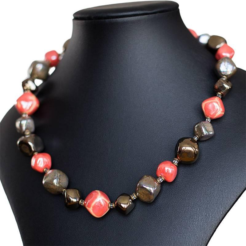 Kazuri Halsketten Kazuri Halskette Orange