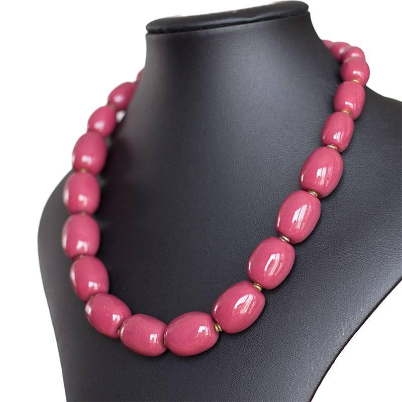 Kazuri Halsketten Keramikkette Hennafarben