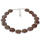 Kazuri Halsketten Flache Keramik Perlenkette Rot-Braun