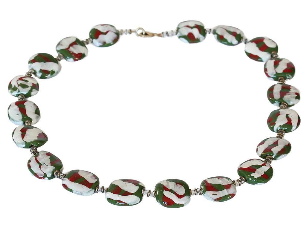 Kazuri Halsketten Handbemalte Keramikkette Grün