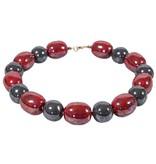 Kazuri Halsketten Kazuri Schmuck Rot Grau