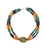 Kazuri Halsketten Unikate Kazuri Halskette - Handgefertigt - Gelb-Grün