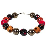 Kazuri Halsketten Schwarz Rot Goldene Halskette