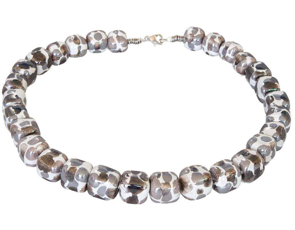Kazuri Halsketten Würfelförmige Keramik Kette Granit Weiss