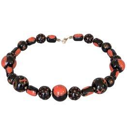 Kazuri Halsketten Patchwork Black Orange