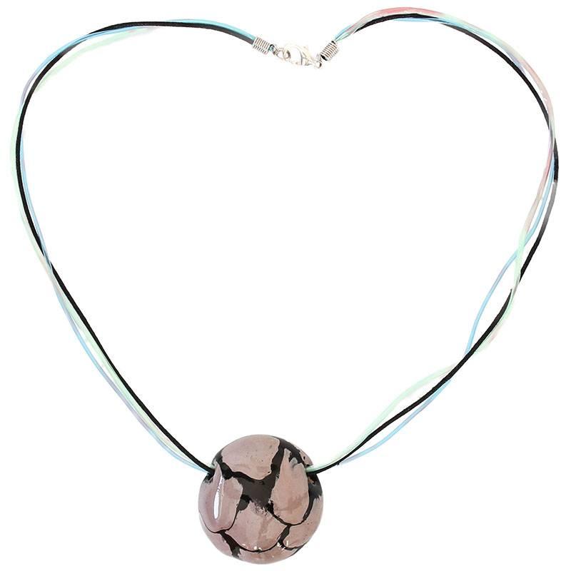 Kazuri Halsketten Runder Kettenanhänger Schwarz Granit