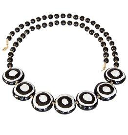 Kazuri Halsketten Bulawaya Black & White