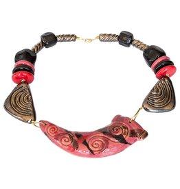 Kazuri Halsketten Horn Bushfire