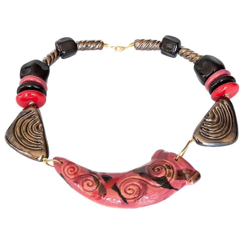 Kazuri Halsketten Statement Kette Rot