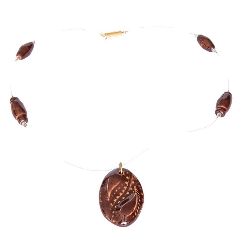 Kazuri Halsketten Minimalistischer Schmuck in Henna