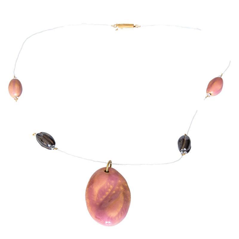 Kazuri Halsketten Minimalistische Kette Altrosa