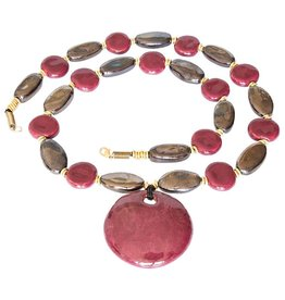 Kazuri Halsketten Kyondo Peony Gold