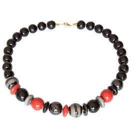 Kazuri Halsketten Mini Lwanda Orange Black