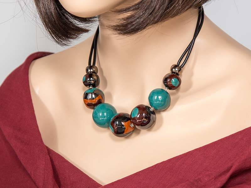 Kazuri Halsketten Kugelkette Bunt