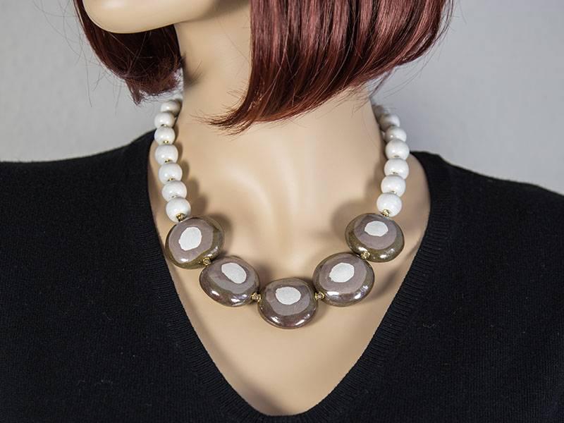 Kazuri Halsketten Afrika Kette mit weißen Punkten