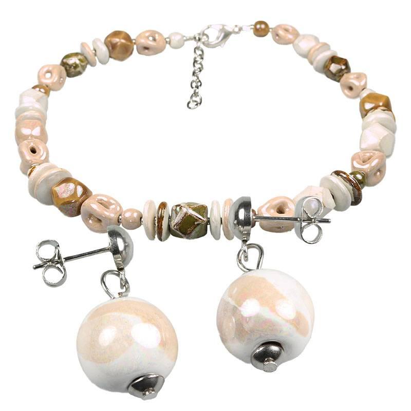 Kazuri Schmuckset Halskette und Ohrringe Altrosa