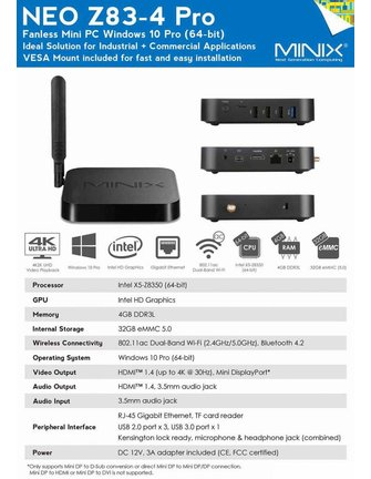 MINIX NEO Z83-4 PRO 64-BIT WINDOWS 10 PRO-SERIE MINI PC / TV-BOX MIT VESA-MONTAGE