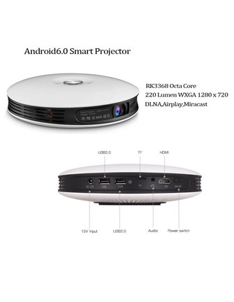 RKM / Rikomagic R3 WIRELESS ROCK CHIP RK3368 1.5 GHZ octacore ANDROID-TV LED-Projektor