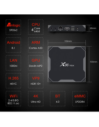 ANDROIDBOX X96 MAX AMLOGIC S905X2 QUADCORE 2.0 GHZ.
