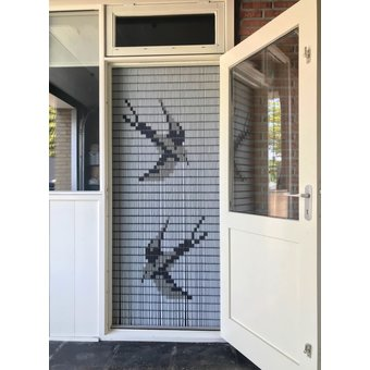 Liso ® 012 Fliegenvorhang mit Schwalben - fertig 92 x 209 cm