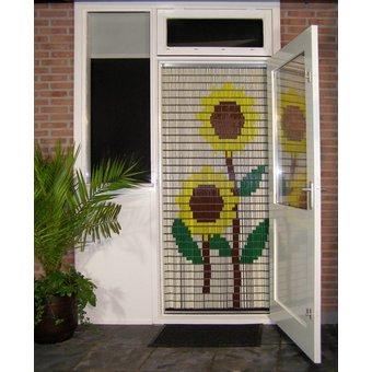 Liso ® 002 Vliegengordijn met Zonnebloemen - Doe-het-zelf pakket. Prijs per / m²