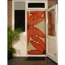 Liso ® 077 Vliegengordijn met Oranje Bloemen -  Doe-het-zelf pakket | Prijs / m²