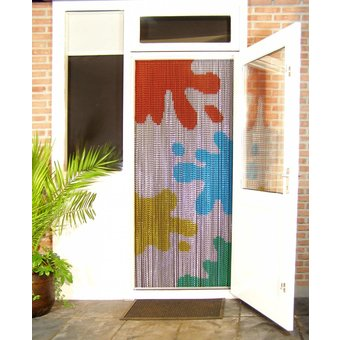 Kriska ® Kettenvorhang Fliegenvorhang fertig 92x209 Kuhflecken farbig