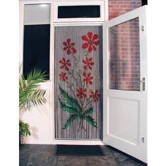 Kriska ® Kettinggordijn   Vliegengordijn kant en klaar 92x209 Oranje bloemen