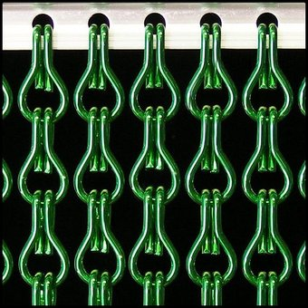 Kettinggordijn Liso ® Kettinggordijn | Vliegengordijn Donkergroen: Op maat gemaakt | Prijs per m²