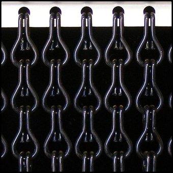 Kriska ® Kette Vorhang | Fliegende schwarzer Vorhang: Maßgeschneidert | Preis pro m²