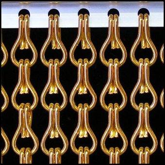 Kriska ® Kette Vorhang | Fliegen orange Vorhang: Maß | Preis pro m²