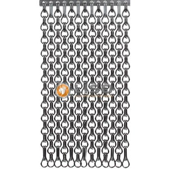 Kettinggordijn Liso ® Kettenvorhang | Fliegenvorhang Grau extra eng hängend: Sonderanfertigung | Preis / m²