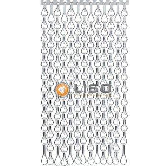 Kettinggordijn Liso ® Kettenvorhang | Fliegenvorhang Silber extra geschlossen hängend: Maßanfertigung Preis / m²
