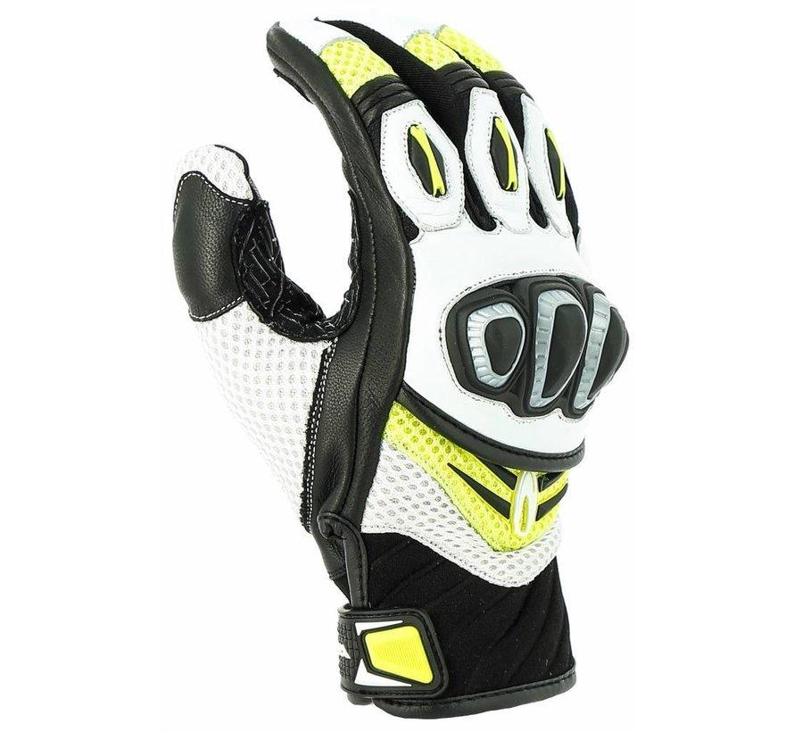 Turbo motorhandschoen Wit/geel