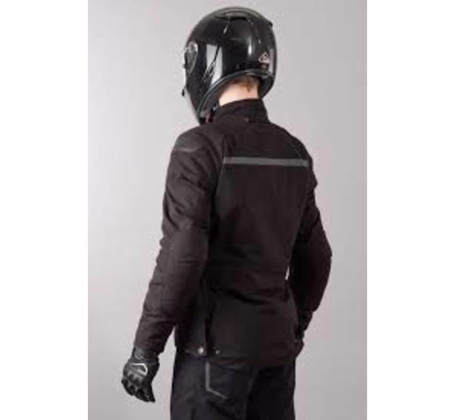 Stickler motorjas in het zwart