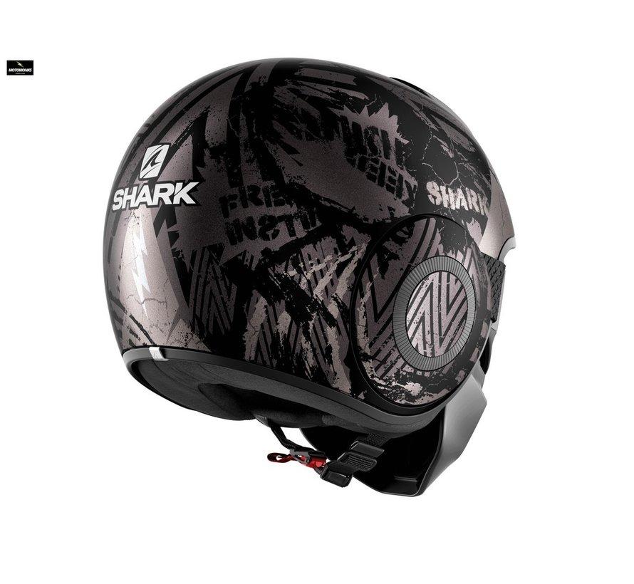 Street Drak Crower Mat Zwart Anthrac Silver helm