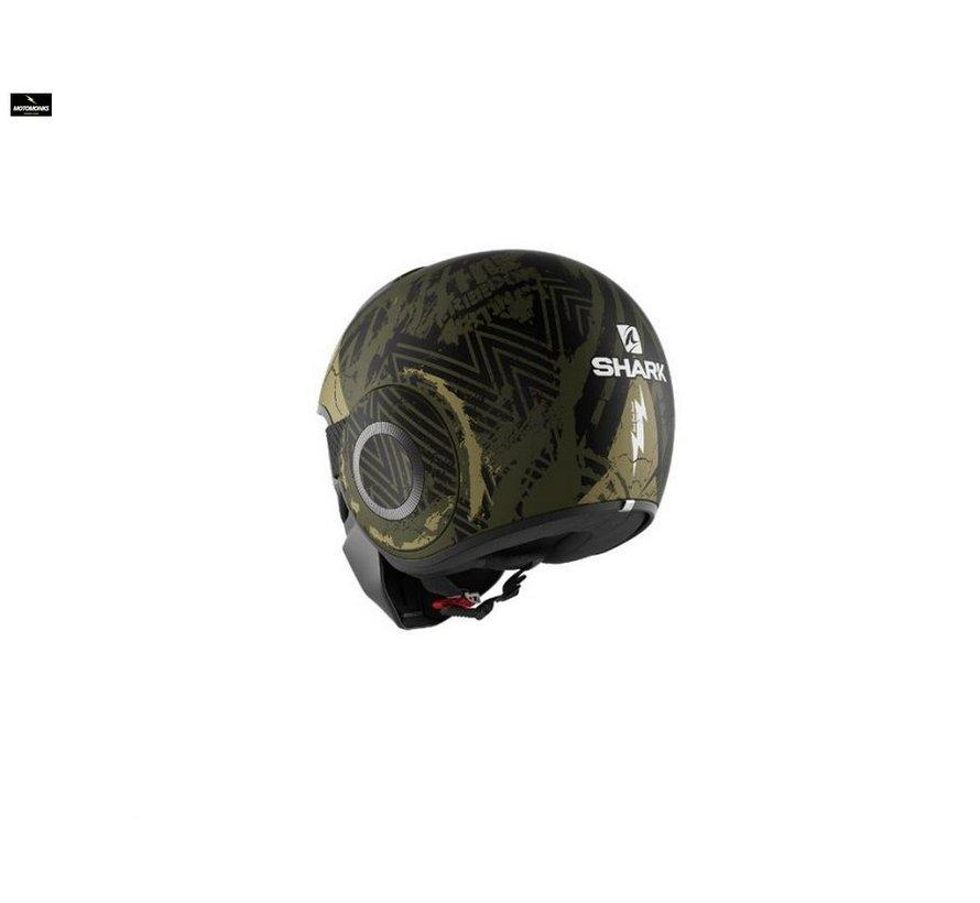 Street Drak Crower Mat Zwart Groen helm