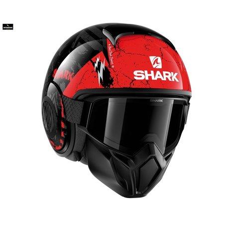 Shark Street Drak CrowerZwart Anthracite Rood helm