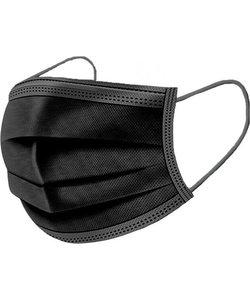 Mondkapje met neusvormstrip zwart (50 stuks)