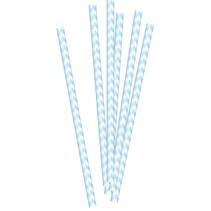 Papieren rietjes babyblauw 20 stuks