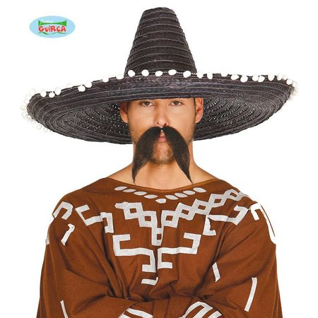 Mexicaanse strohoed zwart 60cm