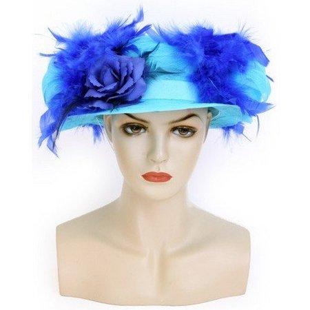 Organza hoed blauw met boa en bloemen