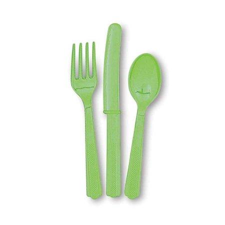 18 stuks Lime groen bestek assorti