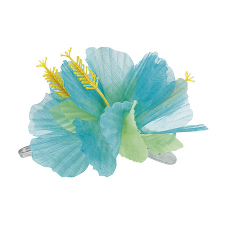 Haarclip Bloem Hawaii Turquoise