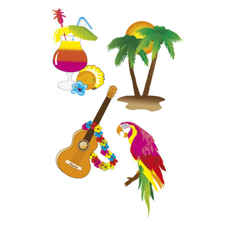 Set tropische Hawaii Wanddecoratie (4 Stuks)