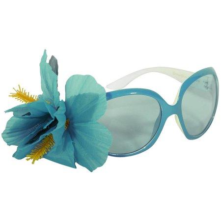 Feestbril Hawaii blauw met bloem