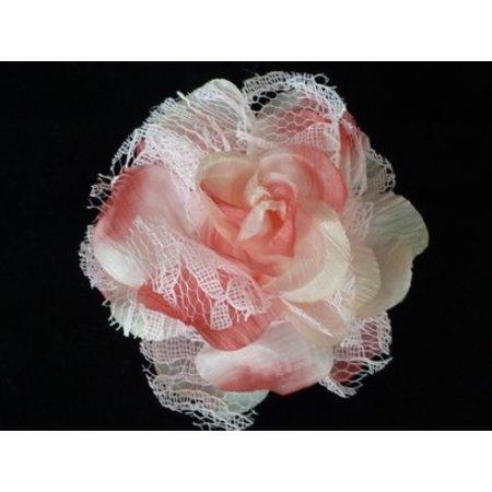 Haarbloem/Broche Roos Licht Roze