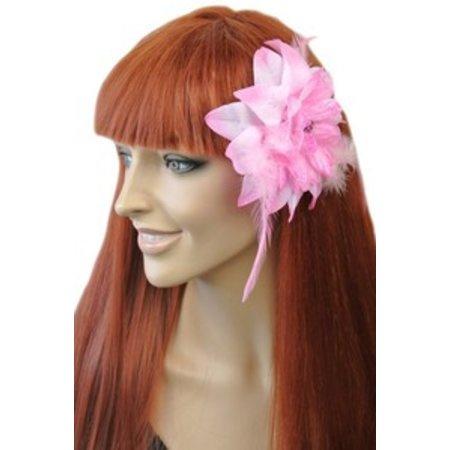 Haarbloem/Broche Licht Roze
